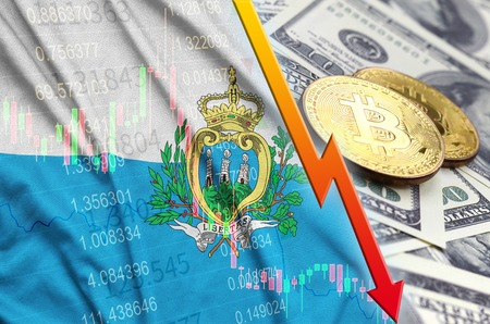 San Marino flag and cryptocurrency falling trend with two bitcoins on dollar bills. Concept of depreciation Bitcoin in price against the dollar