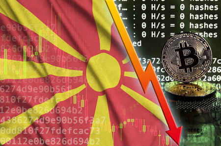 Macedonia flag and falling red arrow on bitcoin mining screen and two physical golden bitcoins. Concept of low conversion in cryptocurrency mining
