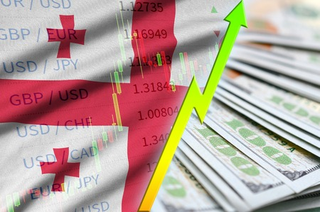 Georgia flag and chart growing US dollar position with a fan of dollar bills. Concept of increasing value of US dollar currency