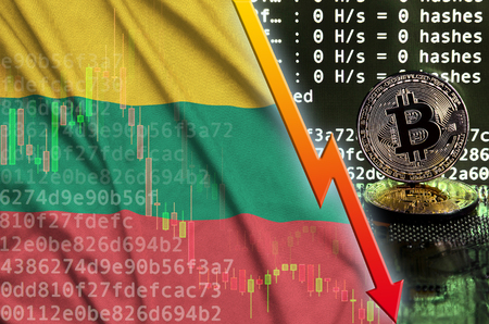 Lithuania flag and falling red arrow on bitcoin mining screen and two physical golden bitcoins. Concept of low conversion in cryptocurrency mining