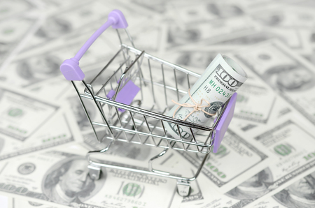 Small shopping trolley with dollars banknotes. Big amount of US dollar bills and shopping cart. Concept of cashback and bargains on sale