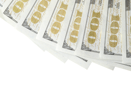A border of American money isolated on white with copy space. Money Border of hundred dollar bills 版權商用圖片