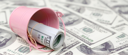 A bundle of US dollars in a metal pink pail on a set of dollar bills. The concept of abundance and excess cash