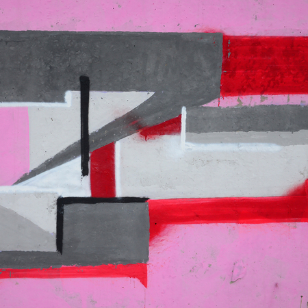 Fragment of colored street art graffiti paintings with contours and shading close up. Background texture of youth contemporary art culture. Pink red and black colors