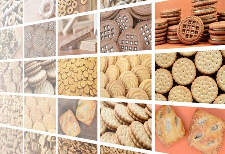 A collage of many pictures with various sweets close-up. A set of images with varieties of biscuits, bagels and candies 版權商用圖片