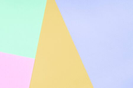 Texture background of fashion pastel colors. Pink, violet, orange and blue geometric pattern papers. minimal abstract.