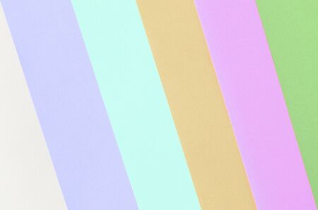 Texture background of fashion pastel colors. Pink, violet, orange, green, beige and blue geometric pattern papers. minimal abstract. Stock Photo