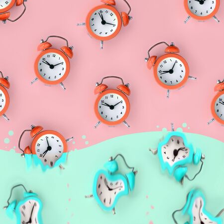 Time is running out concept shows red alarm clocks that is dissolving down by melting in pastel blue liquid substance. Surreal style image
