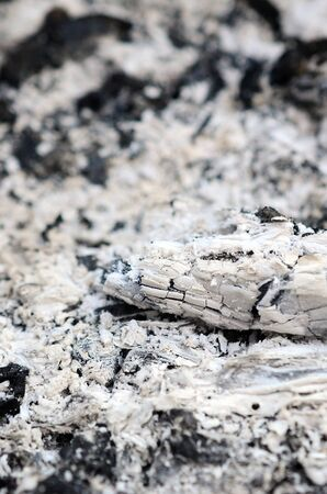 Pile of ashes after the fire went out grunge background texture. Burned out ashes close up outdoors in daylight 스톡 콘텐츠