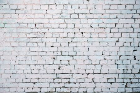 White Rustic Texture with Retro Whitewashed Old Brick Wall Surface. Vintage Structure Фото со стока - 132151555