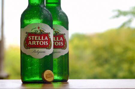 KHARKOV, UKRAINE - AUGUST 22, 2019: Bottles of Stella Artois beer on blurred green trees background. Is a pilsner brewed in Leuven, Belgium, since 1926