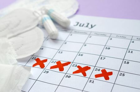Aspects of women wellness in monthlies period. Menstrual pads and tampons on menstruation period calendar. Woman critical days, gynecological menstruation cycle period. Sanitary woman hygiene