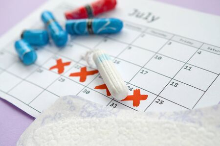 Aspects of women wellness in monthlies period. Menstrual pads and tampons on menstruation period calendar. Woman critical days, gynecological menstruation cycle period. Sanitary woman hygiene Stockfoto - 132117041
