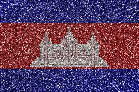 Cambodia flag depicted on many small shiny sequins. Colorful festival background for disco party