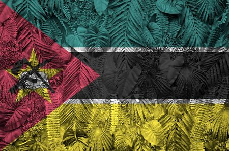 Mozambique flag depicted on many leafs of monstera palm trees. Trendy fashionable background Stock fotó