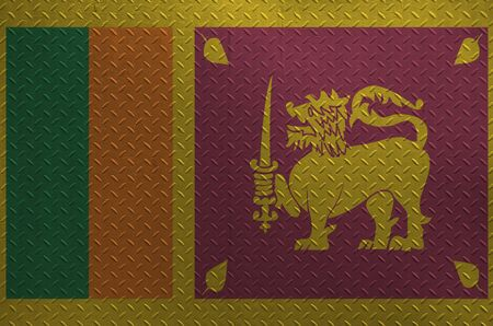Sri Lanka flag depicted in paint colors on old brushed metal plate or wall close up. Textured banner on rough background