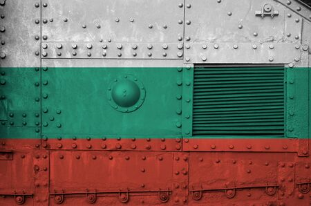 Bulgaria flag depicted on side part of military armored tank close up. Army forces conceptual background