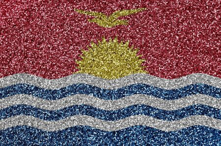 Kiribati flag depicted on many small shiny sequins. Colorful festival background for disco party Stock fotó