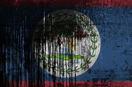 Belize flag depicted in paint colors on old and dirty oil barrel wall close up. Textured banner on rough background