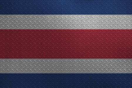 Costa Rica flag depicted in paint colors on old brushed metal plate or wall close up. Textured banner on rough background