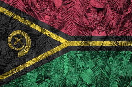 Vanuatu flag depicted on many leafs of monstera palm trees. Trendy fashionable background Banco de Imagens