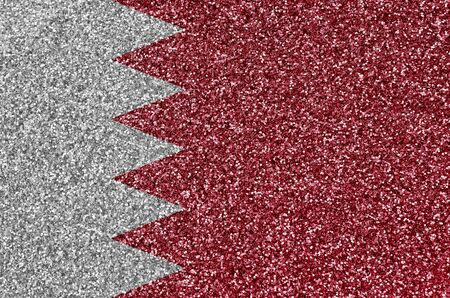 Bahrain flag depicted on many small shiny sequins. Colorful festival background for disco party