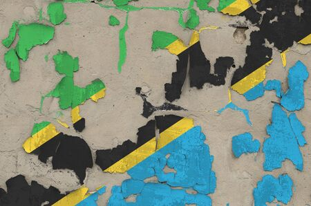 Tanzania flag depicted in paint colors on old obsolete messy concrete wall close up. Textured banner on rough background