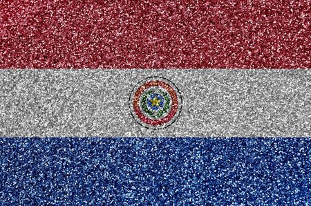 Paraguay flag depicted on many small shiny sequins. Colorful festival background for disco party