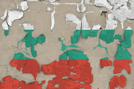 Bulgaria flag depicted in paint colors on old obsolete messy concrete wall close up. Textured banner on rough background