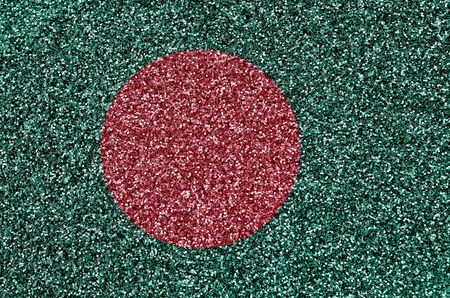Bangladesh flag depicted on many small shiny sequins. Colorful festival background for disco party