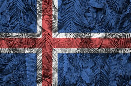 Iceland flag depicted on many leafs of monstera palm trees. Trendy fashionable background