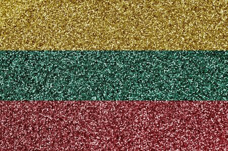 Lithuania flag depicted on many small shiny sequins. Colorful festival background for disco party