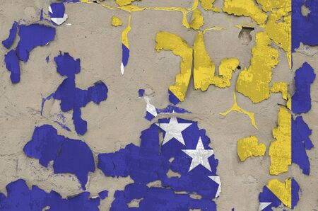 Bosnia and Herzegovina flag depicted in paint colors on old obsolete messy concrete wall close up. Textured banner on rough background