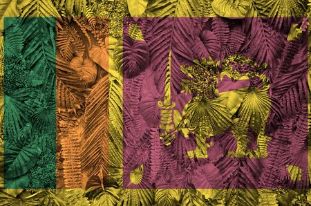 Sri Lanka flag depicted on many leafs of monstera palm trees. Trendy fashionable background