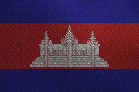 Cambodia flag depicted in paint colors on old brushed metal plate or wall close up. Textured banner on rough background