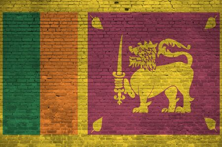Sri Lanka flag depicted in paint colors on old brick wall close up. Textured banner on big brick wall masonry background Zdjęcie Seryjne
