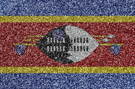 Swaziland flag depicted on many small shiny sequins. Colorful festival background for disco party Stock fotó