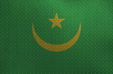 Mauritania flag depicted in paint colors on old brushed metal plate or wall close up. Textured banner on rough background