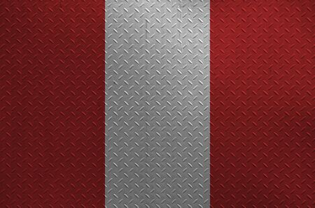Peru flag depicted in paint colors on old brushed metal plate or wall close up. Textured banner on rough background