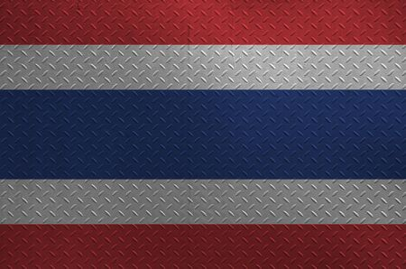 Thailand flag depicted in paint colors on old brushed metal plate or wall close up. Textured banner on rough background 版權商用圖片