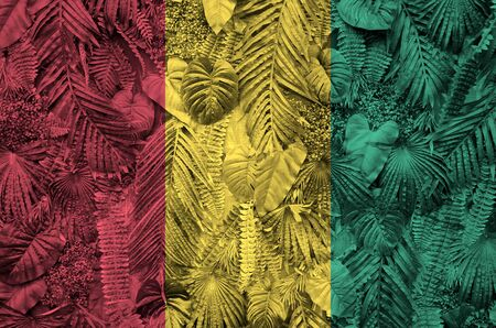 Guinea flag depicted on many leafs of monstera palm trees. Trendy fashionable background Stock fotó