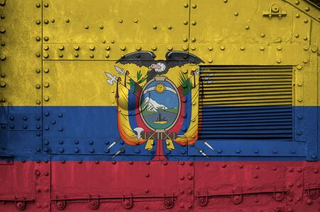 Ecuador flag depicted on side part of military armored tank close up. Army forces conceptual background