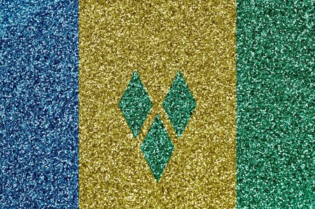Saint Vincent and the Grenadines flag depicted on many small shiny sequins. Colorful festival background for disco party