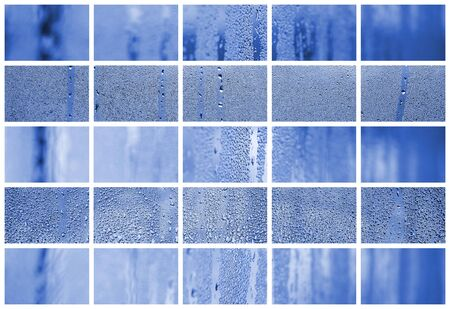 A collage of many different fragments of glass, decorated with rain drops from the condensate. phantom classic blue color.