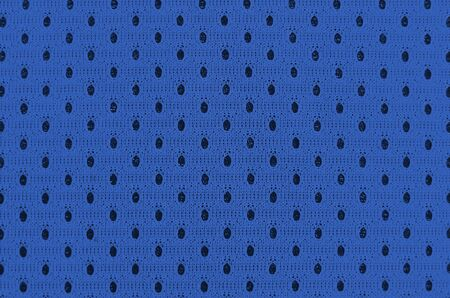 Sport Clothing Fabric Texture Background. Top View of Cloth Textile Surface. Colored Basketball Shirt with Text Space. phantom classic blue color.