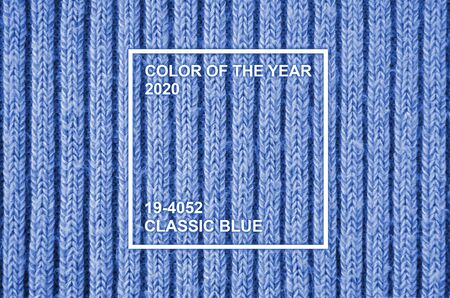 Melange wool knitting. Old knit textile. Cotton wool background for scrapbooking. Phantom classic blue color tone 免版税图像