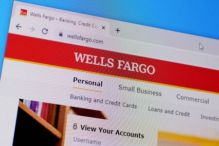 NY, USA - DECEMBER 16, 2019: Homepage of wells fargo website on the display of PC, url - wellsfargo.com.