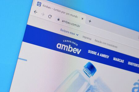 NY, USA - DECEMBER 16, 2019: Homepage of ambev website on the display of PC, url - ambev.com.br.