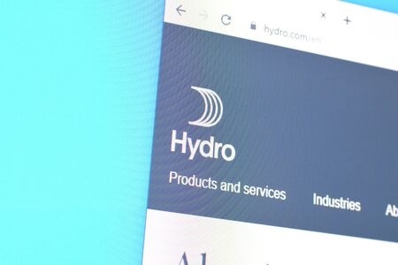 NY, USA - DECEMBER 16, 2019: Homepage of norsk hydro website on the display of PC, url - hydro.com.