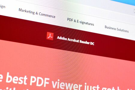 NY, USA - DECEMBER 16, 2019: Web page of adobe acrobat reader product on official website on the display of PC 報道画像